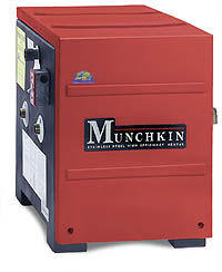 ModCon boilers make more efficient use of fuel by modulating the temperature of the boiler flame, while condensing heat from exhaust gases so that they don't need to be vented out a traditional chimney. Photo Courtesy of Heat Transfer Products, Inc.