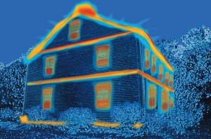 Energy audits use infrared cameras to uncover energy inefficiencies. This artist's rendition shows common areas for old-house heat loss, which can often be lessened through careful caulking, sealing, and insulation. (Photo: Peter Lord. Artwork: Karen Pollard)
