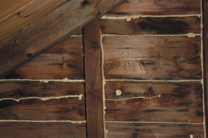 Spray foam can be used on cracks, gaps, and holes in the attic to ensure weatherproofing.