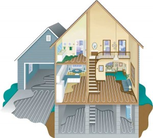 A diagram for a modern hydronic radiant floor includes plans to heat the garage and driveway as well as the house. Radiant has come a long way since Levittown, but it still wards off winter chills with reassuring warmth. (Courtesy: Uponer Wirsbo)