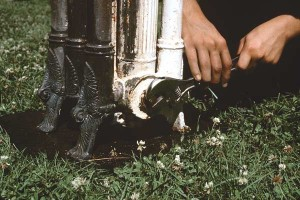 Screw common pipe plugs into the steam or hot water ports just far enough to keep out the stripping solution.