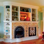 The built-in bookcase in the living room puts the fireplace and television on equal footing.