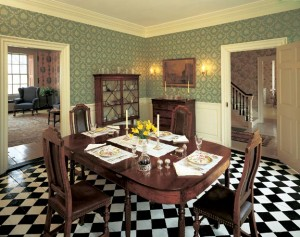 The 1760 house in Colonial, but the paper shown here would be just as comfortable in a Colonial Revival setting—especially set off by glossy white trimwork.