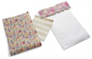 Left to right: Springtime, a 1920s floral chintz; Regency Stripe, a 1940s striped paper; Mica Stripe, suitable for homes through the 1920s, complemented by the die-cut Roslyn Border. All from Charles Rupert Designs.