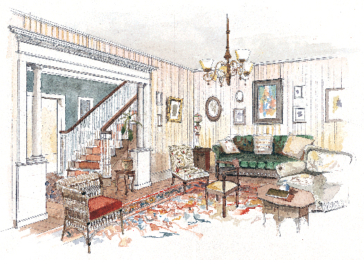 Colonial interior design old house online for Old colonial designs