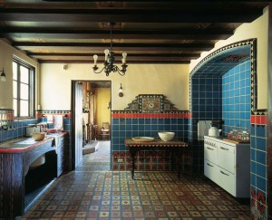 The Adamson House (1930) in Malibu, California, including the kitchen with its fanciful cooking alcove and wall clock, is a veritable showcase of tiles from nearby Malibu Potteries.