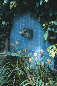 """This satyr-turned-fountain is by Solon & Schemmel (later Solon & Larkin). Referred to as """"S&S,"""" the regionally focused company produced tiles for the Steinhart Aquarium in San Francisco's Golden Gate Park and the kitchen at William Randolph Hearst's San Simeon."""