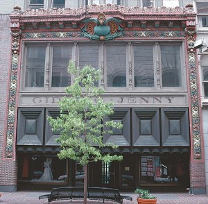 In 1920, this Italianate tile façade by Rookwood Pottery was added to the Gidding-Jenny clothing store in Cincinnati. Its theme—autumnal harvest—is represented by grapes ready for pressing, gourds ready for drying, and pomegranates ripe to bursting.