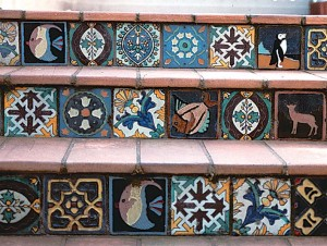 The tilesetter for these exterior stair risers in Oakland, California, has playfully pieced together a crazy quilt of tiles by the underrated company Solon & Schemmel of San Jose, California.