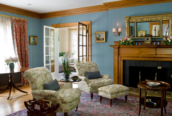 Rethinking a colonial revival interior old house online for Colonial living room decorating ideas