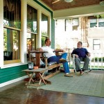 Clark (left) and J.W. (right), relaxing on the ample front porch.