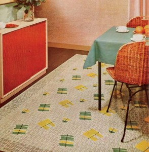 Almost all manufacturers continued making rugs into the 1950s, running modern and atomic patterns in their catalogs right along with pages of ersatz originals.