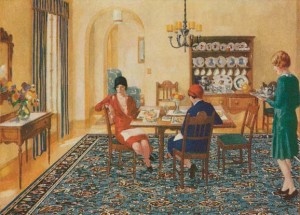 "While linoleum manufacturers cornered the market in kitchens and baths with plain-Jane patterns, by 1929 competitors were invading living and dining rooms with colorful ""rugs"" that had never seen a loom and were not necessarily even linoleum."