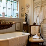 The master bath gets a touch of romance courtesy of the couple's collection of period clothing.