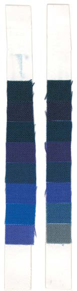 The amount of fading varies with fabric and dye. After three months of exposure, the bottom swatches at right are showing their inferior color retention.