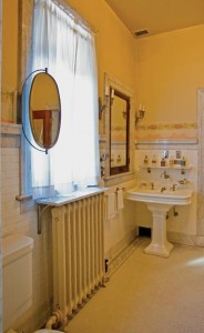 A hot-water radiator in Ruthmere, a 1910 Beaux Arts house in Elkhart, Indiana, displays a typical bottom-end pipe connection.