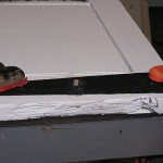Clamp the whole assembly over a flat steel and timber surface for proper peening.
