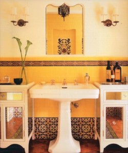 Patterns of colorful geometric tiles were common in the bathrooms and kitchens of California houses rooted in the design heritage of Spain, like Mission and Spanish Eclectic styles.
