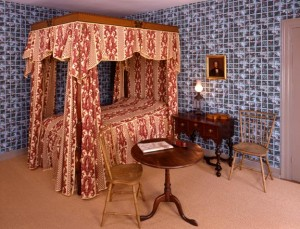 There's no missing the grid on this French trellis wallpaper in a bedroom at the Wadsworth-Longfellow House in Portland, Maine, the boyhood home of the celebrated 19th-century poet. The paper is a reproduction based on the room's 1826 decor.