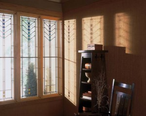 Frank Lloyd Wright's designs appear on new sash, casements, and fixed-frame wood windows.