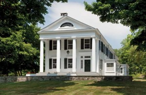 The original Greek Revival structure in Salt Point, New York, dates from the 1840s. Its columns were rebuilt using traditional methods.