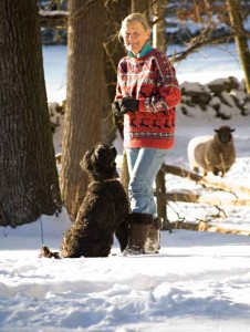 Judy Larter with Simba, a Portuguese Water Dog who loves to hike in the woods.