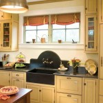 The black-granite backsplash steals the show in this traditional kitchen.