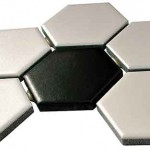 Ceramic mosaic 1-inch hexagons are an affordable option.