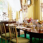 The dining room at Boscobel shows how fancy an American Federal house could be when furnished with English imports, such as the china and candelabra on display here.