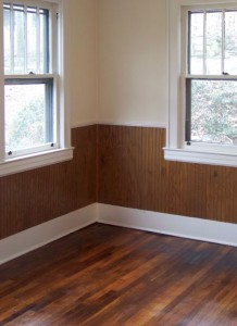 After recoating, this room's formerly scuffed-up hardwood flooring (right) looks good as new.