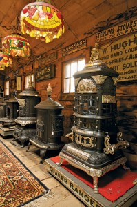 The showroom of Barnstable Stoves is reminiscent of a museum, with stove paraphernalia lining the walls.
