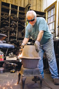 Pacheco then torches and sands the stoves, and adds a coat of paint to bring them back to life. The nickel plating is done in New Bedford.