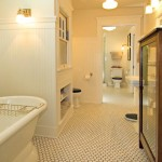 Two Jack-and-Jill bathrooms on the second floor are connected with a privacy door.