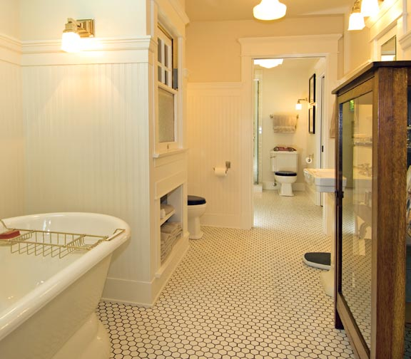 An arts crafts cottage preserved old house online for Arts and crafts bathroom ideas