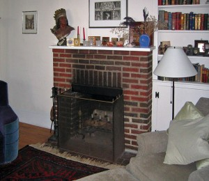 Before the project, the fireplace could only safely hold lighted candles, and its brick mantel didn't match the home's architecture.