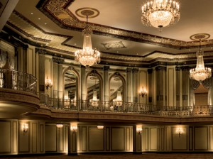 Chandeliers in the Grand and State Ballrooms are 9' tall, and had to be hung from specially designed dolleys during work to restore them—a project that included, among other things, removing and cleaning the fixtures' 80,000 crystals.