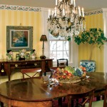 Sunny yellow walls in the formal dining room (part of a new addition to the house) counteract the chilling effect of upstate New York winters.