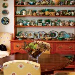 An antique hutch in the breakfast area provides a fitting backdrop for Irena's majolica collection.
