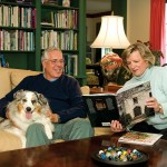 Mike and Irena, along with dog Lulu, in the family room.