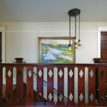 The iron railing incorporates the diamond motif from the upstairs balusters (which are original to the house, but were replicated by C.J. to meet code height requirements).