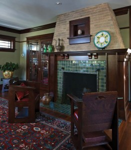 The addition of a wood mantel and tile surround and hearth brought new life to the home's original brick fireplace.