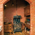 The stove in the scullery is an original 1880s stove—found in a miner's cabin in the mountains—that's been restored and converted to electricity, preserving the illusion that you're in a real 1880s home.