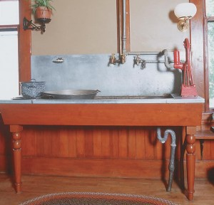 The cast iron sink and zinc surround at Billings Farm in Woodstock, Vermont, was handmade to be true to 1895.