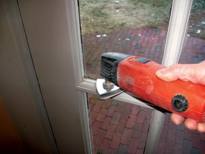 Sanding a window muntin with an oscillating multi-tool