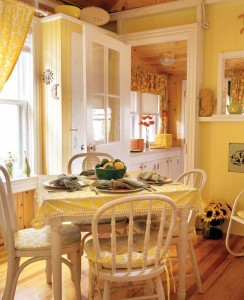 Sunny yellow is a favorite hue for kitchen curtains and tablecloths.