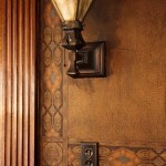 The bronze lighting fixtures and leatherette wallcovering are original.