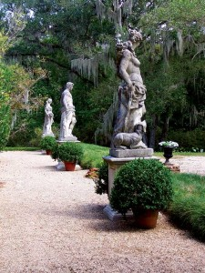 At Afton Villa near St. Francisville, Louisiana, four Classical figures carved of Italian stone mark the place where the house once stood. (Photo: Courtesy of Afton Villa Gardens)
