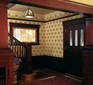 The 1910s witnessed the waning of ceiling papers, but American Arts & Crafts papers were, and are, offered in complete roomsets of fill, frieze, and ceiling paper.