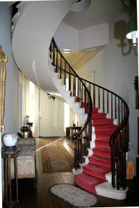 The finely decorated interior of the Shrewsbury-Windle House is famed for its freestanding spiral staircase rising from the entrance hall to the third floor.