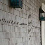Subtle ornamentation by Custom Cedar Solutions: Diamond-butt shingles create a sawtooth detail.